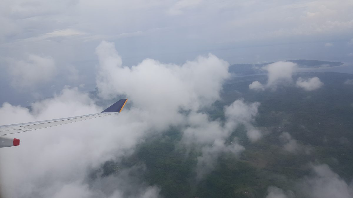 Flying over Bali, Indonesia, with Singapore Airlines.