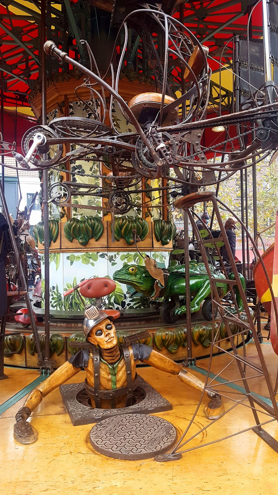 A steampunk-themed carousel.