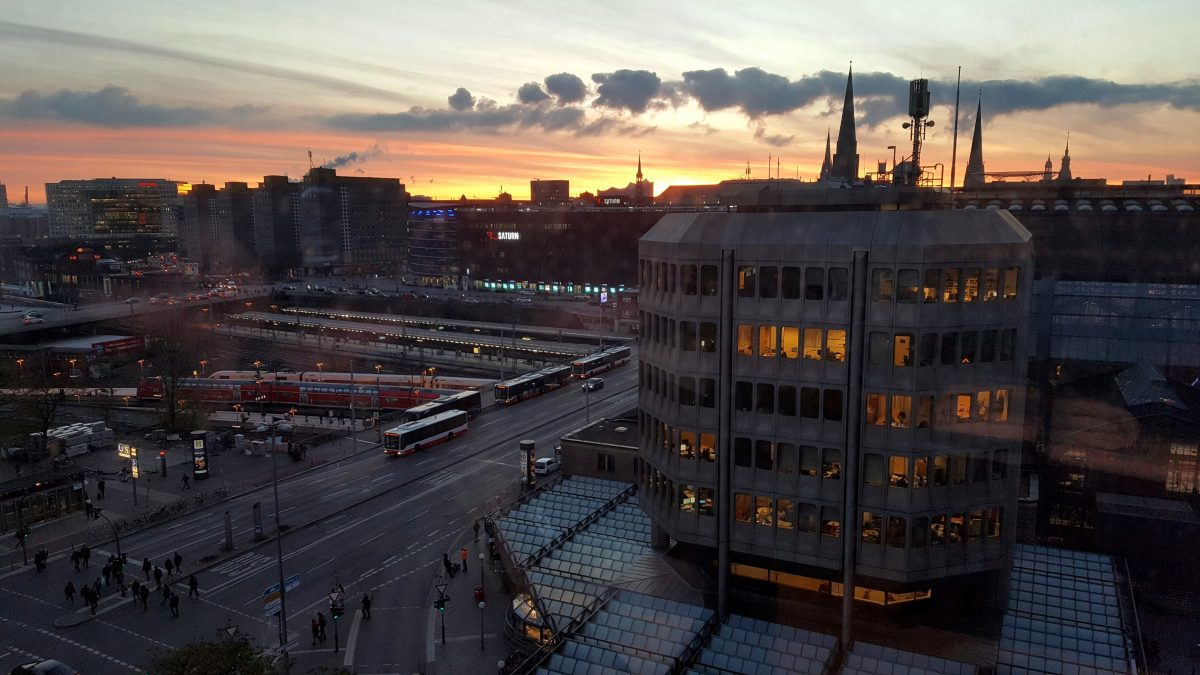 View over Hamburg from the Generator Hostel.