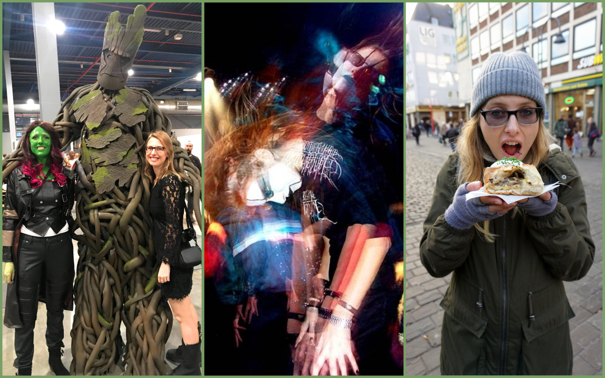 Me being a total geek, headbanging and eating.
