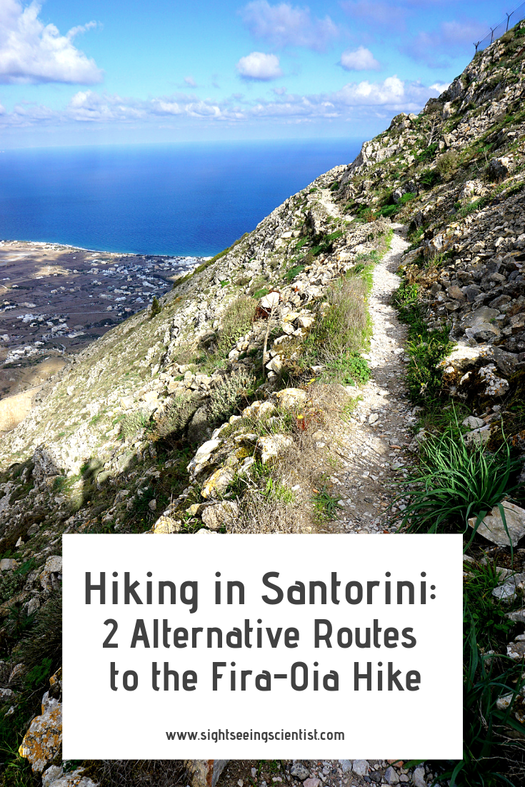 Hiking in Santorini pin.