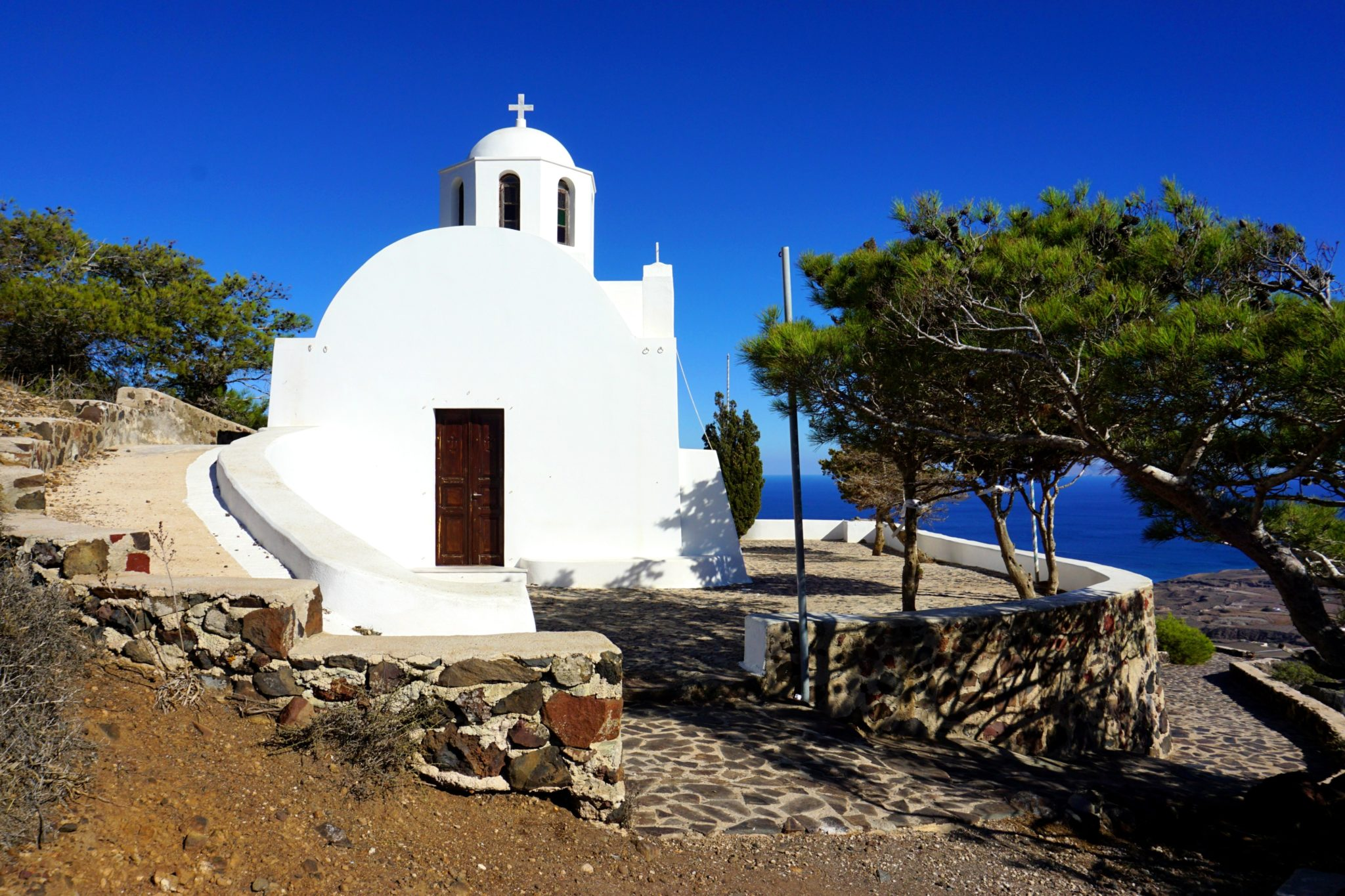 Ekklisia Profitis Ilias, a beautiful little church you'll see on the Fira to Oia hike.