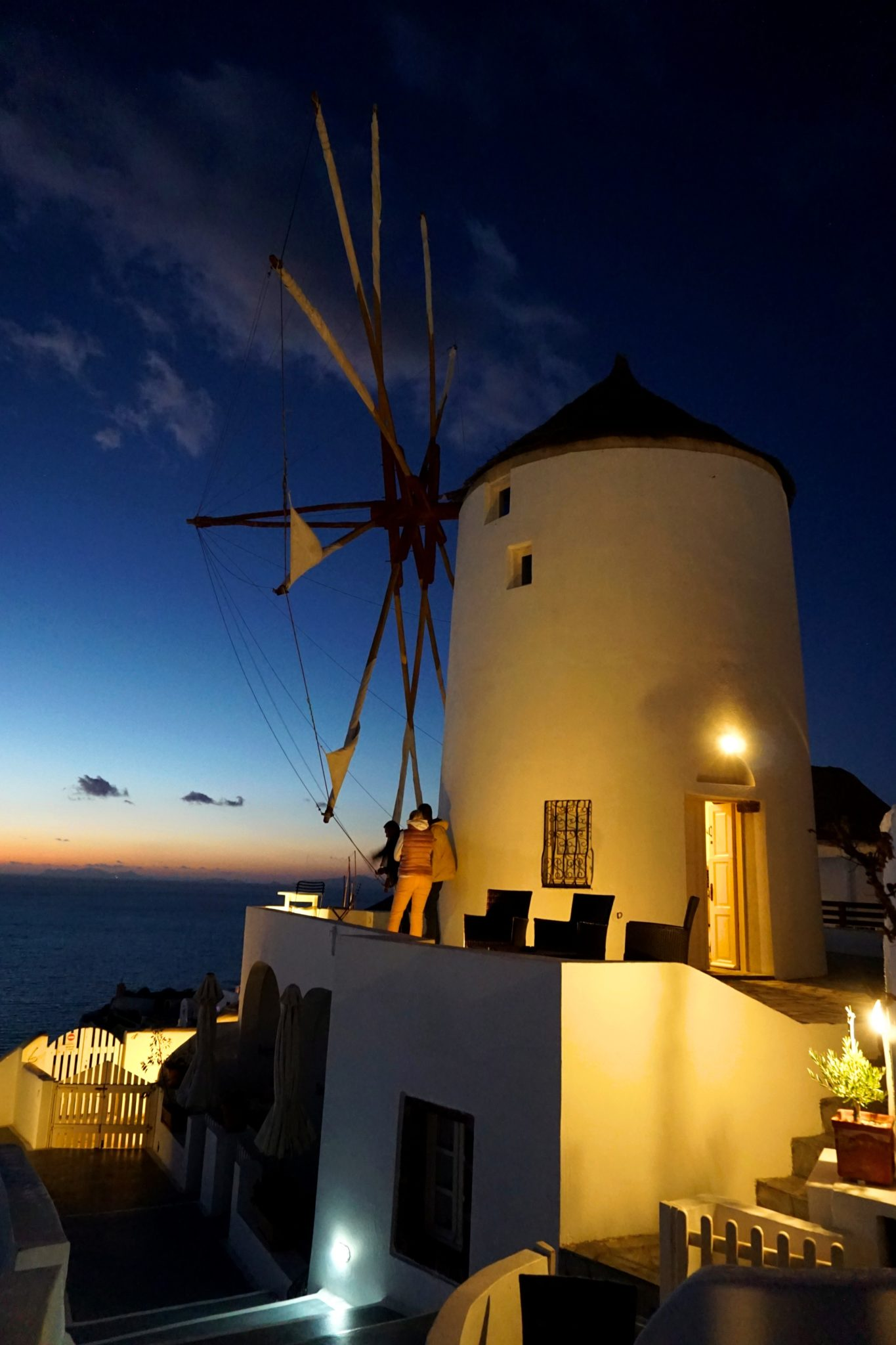 One of the famous Oia windmills taken during blue hour.