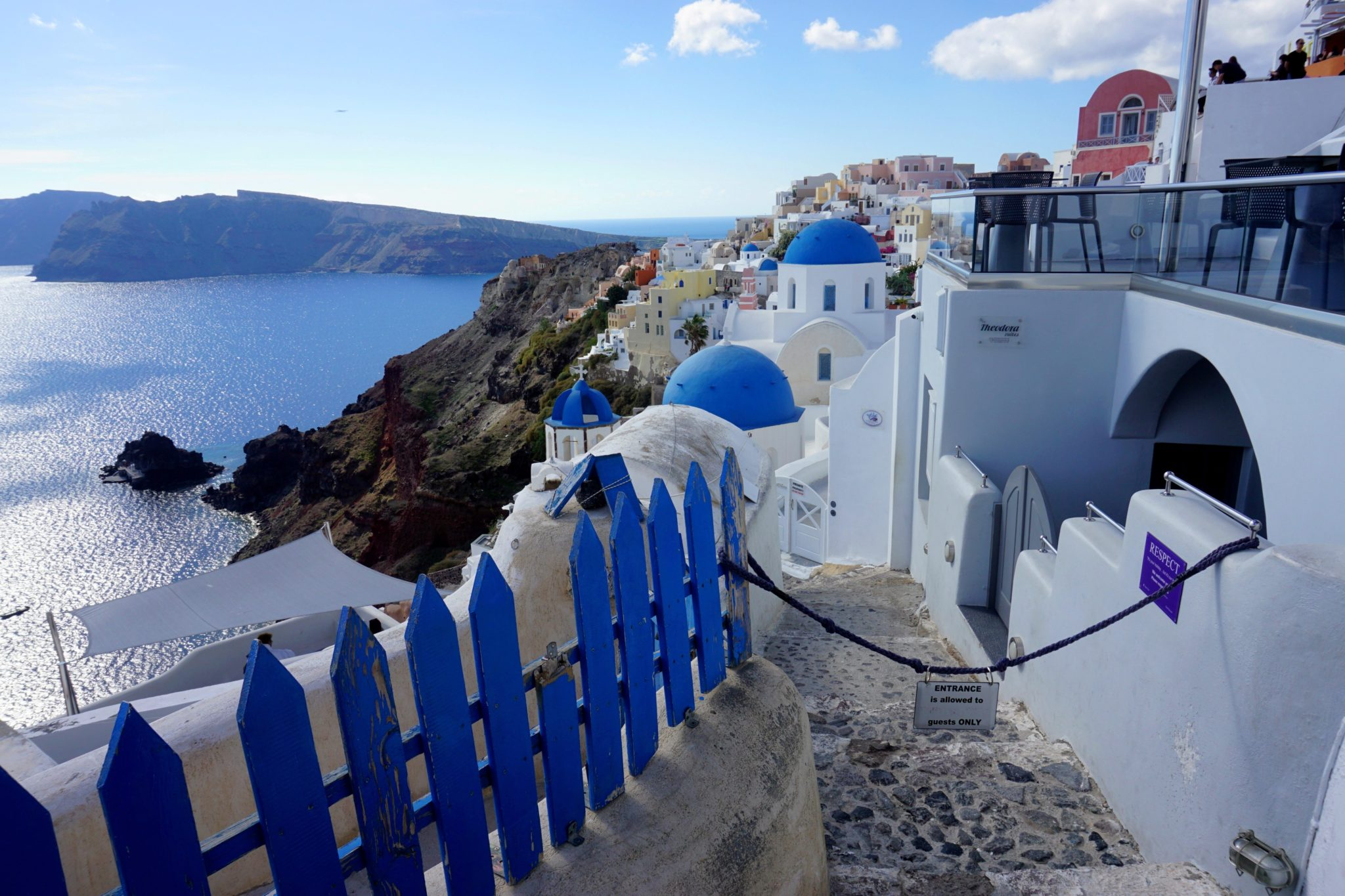 The iconic blue domed churches of Oia.