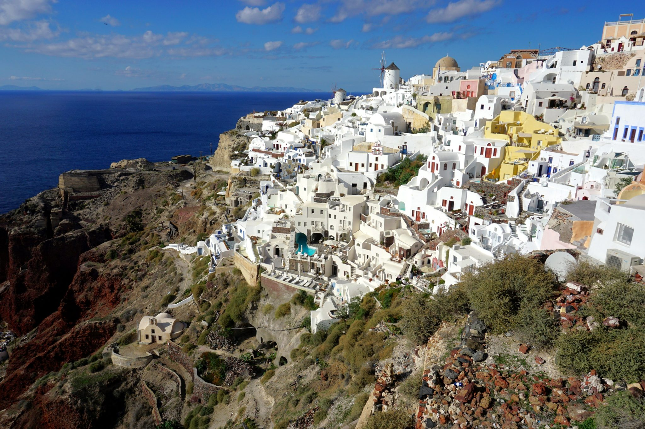 View of Oia from the Byzantine Castle Ruins. This view is a great 'reward' for completing the Fira to Oia hike.