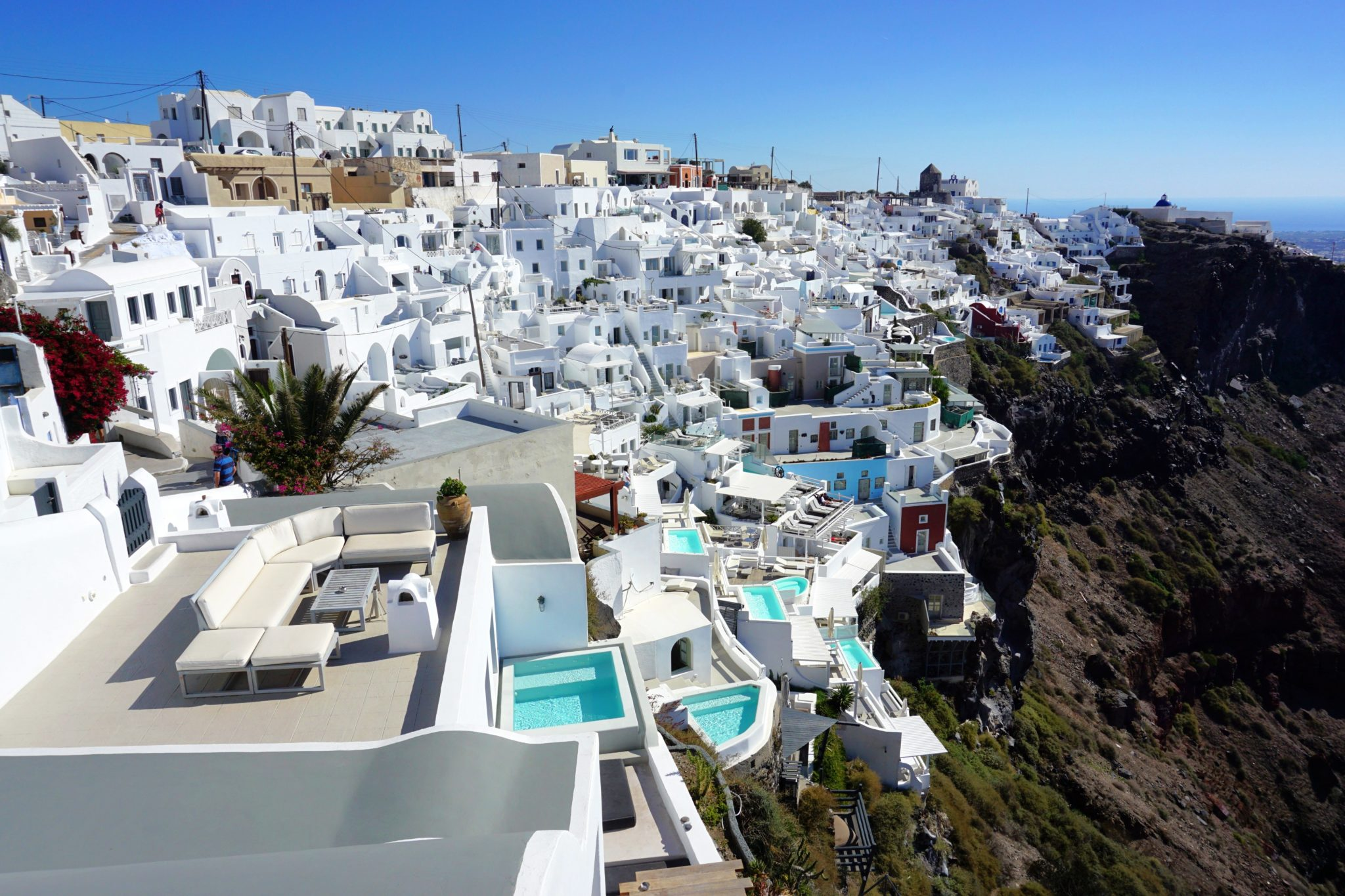 The hike from Fira to Oia goes through the village of Imerovigli.