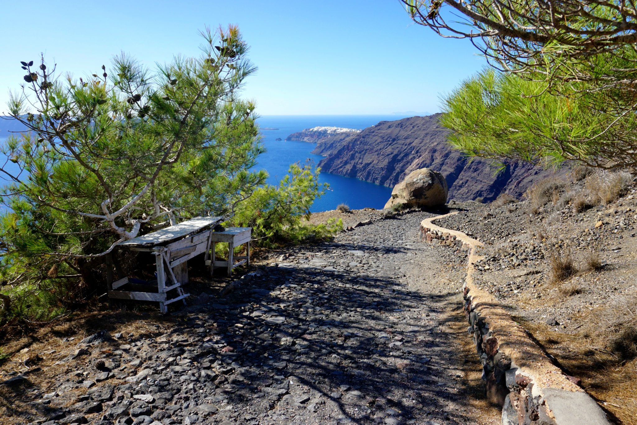 One of many beautiful views along the Fira to Oia hike.
