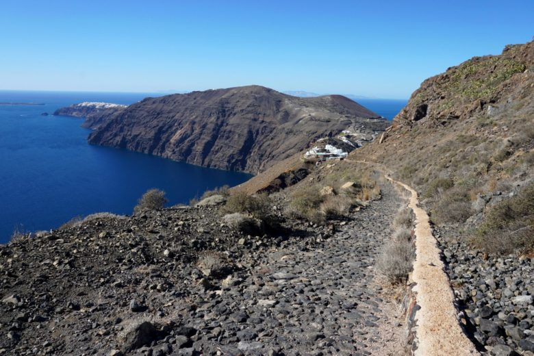 Part of the hiking trail between Imerovigli and Oia.