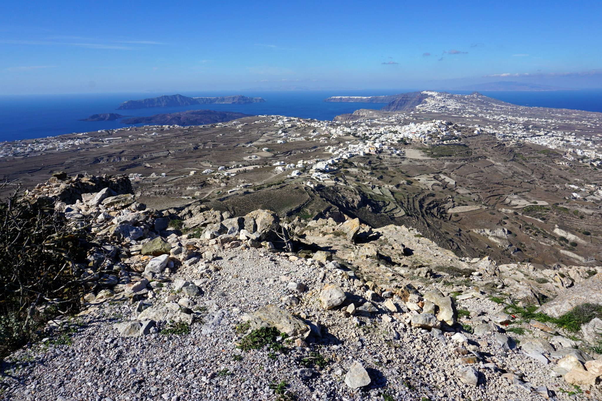 Great view of the island of Santorini from above, the top of Mt. Profitis Ilias.