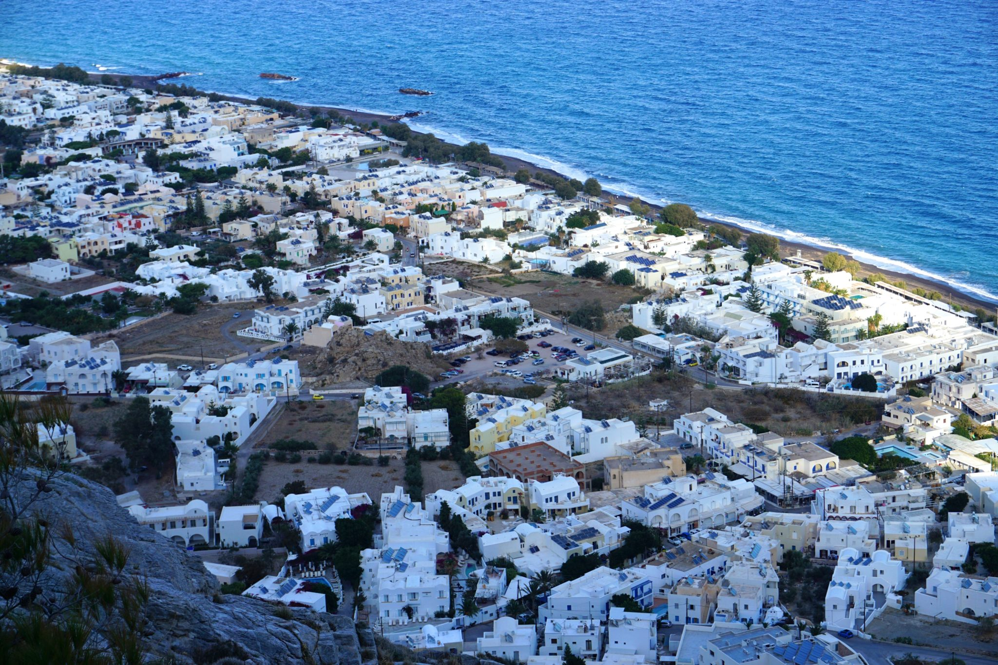 A beautiful view of the village of Kamari on the way down from Ancient Thera, Santorini.