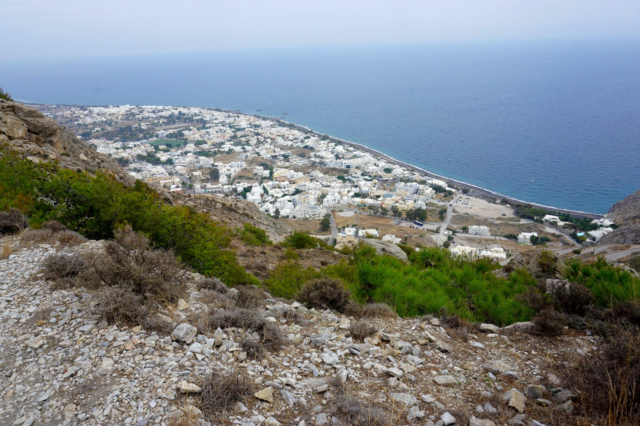 View of Kamari from the hiking trail.