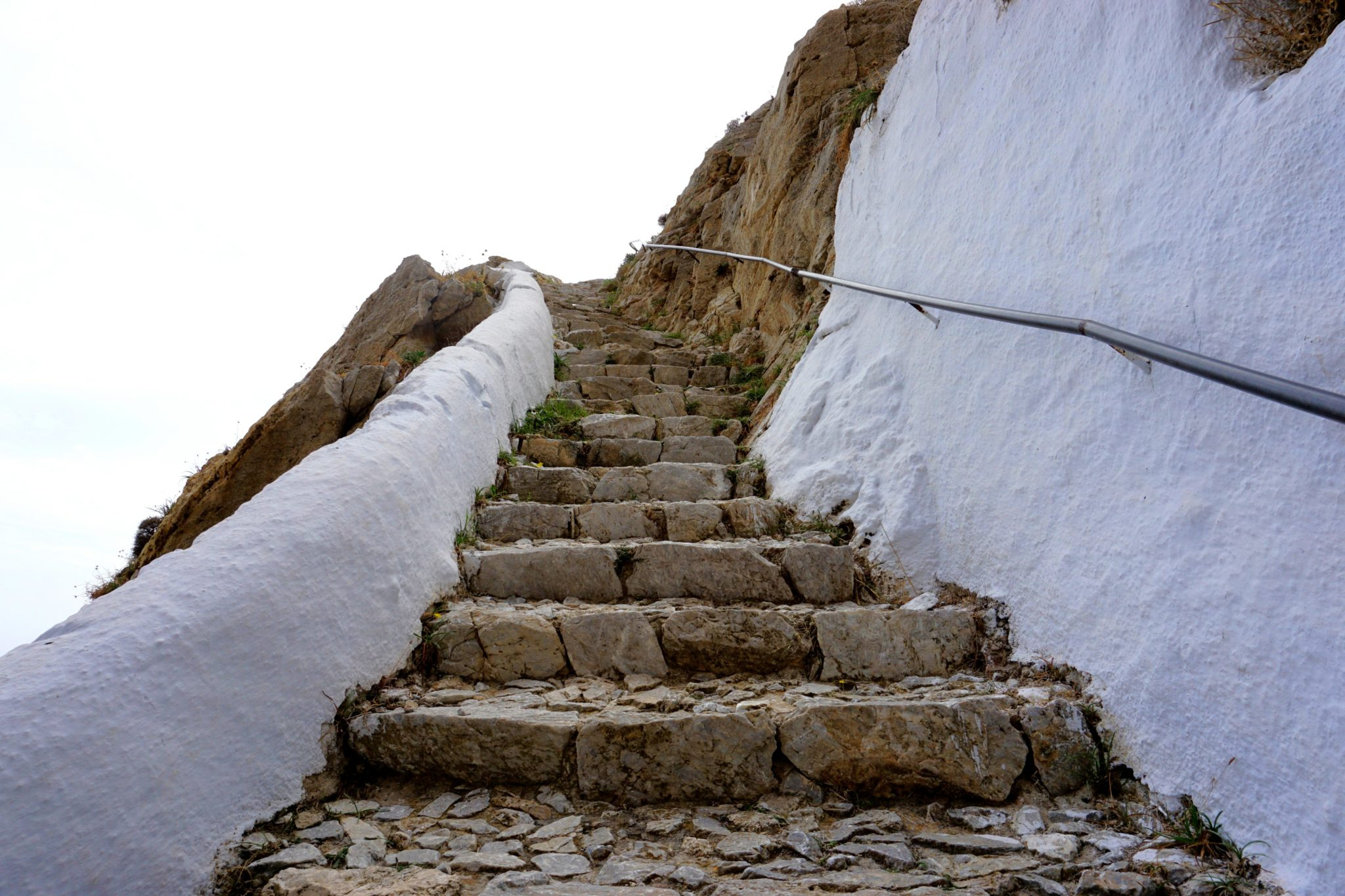Climbing the stairs from Kamari to Ancient Thera.
