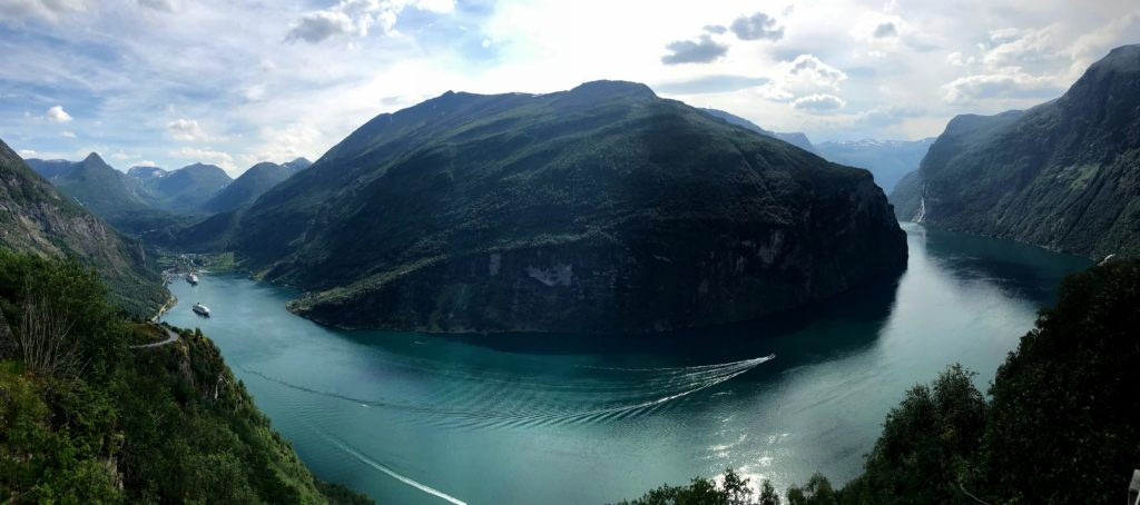 Panoramic view of the Geirangerfjord from Ørnesvingen.