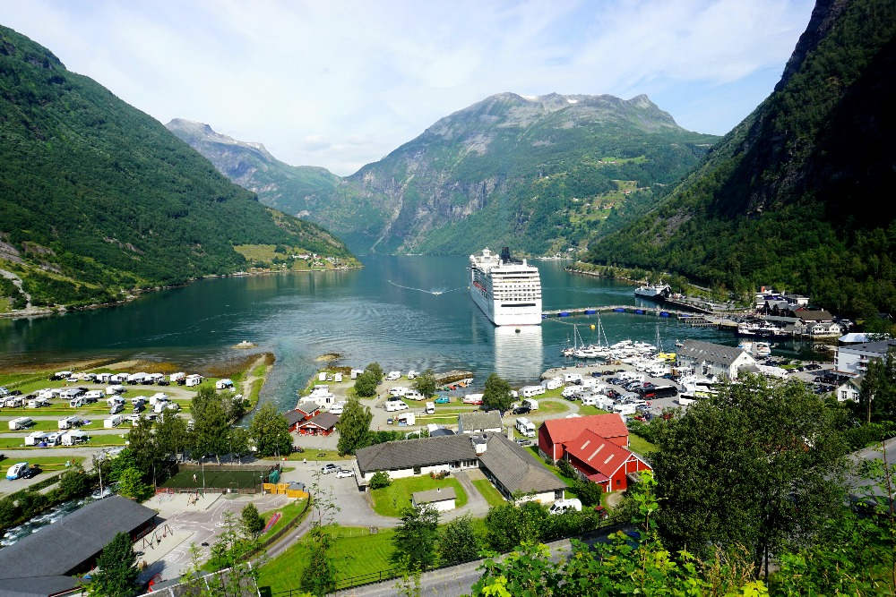 Geiranger harbour on the way up to the church.