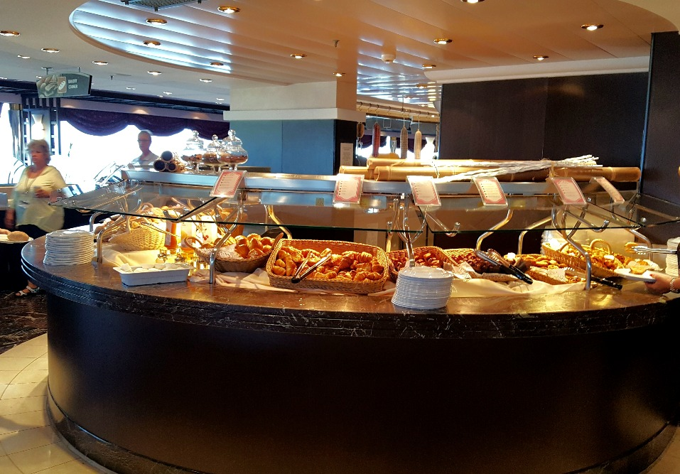 The breakfast buffet in the cafeteria on board the MSC Poesia.