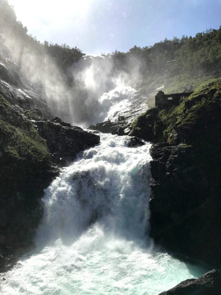The majestic Kjosfossen waterfalls.