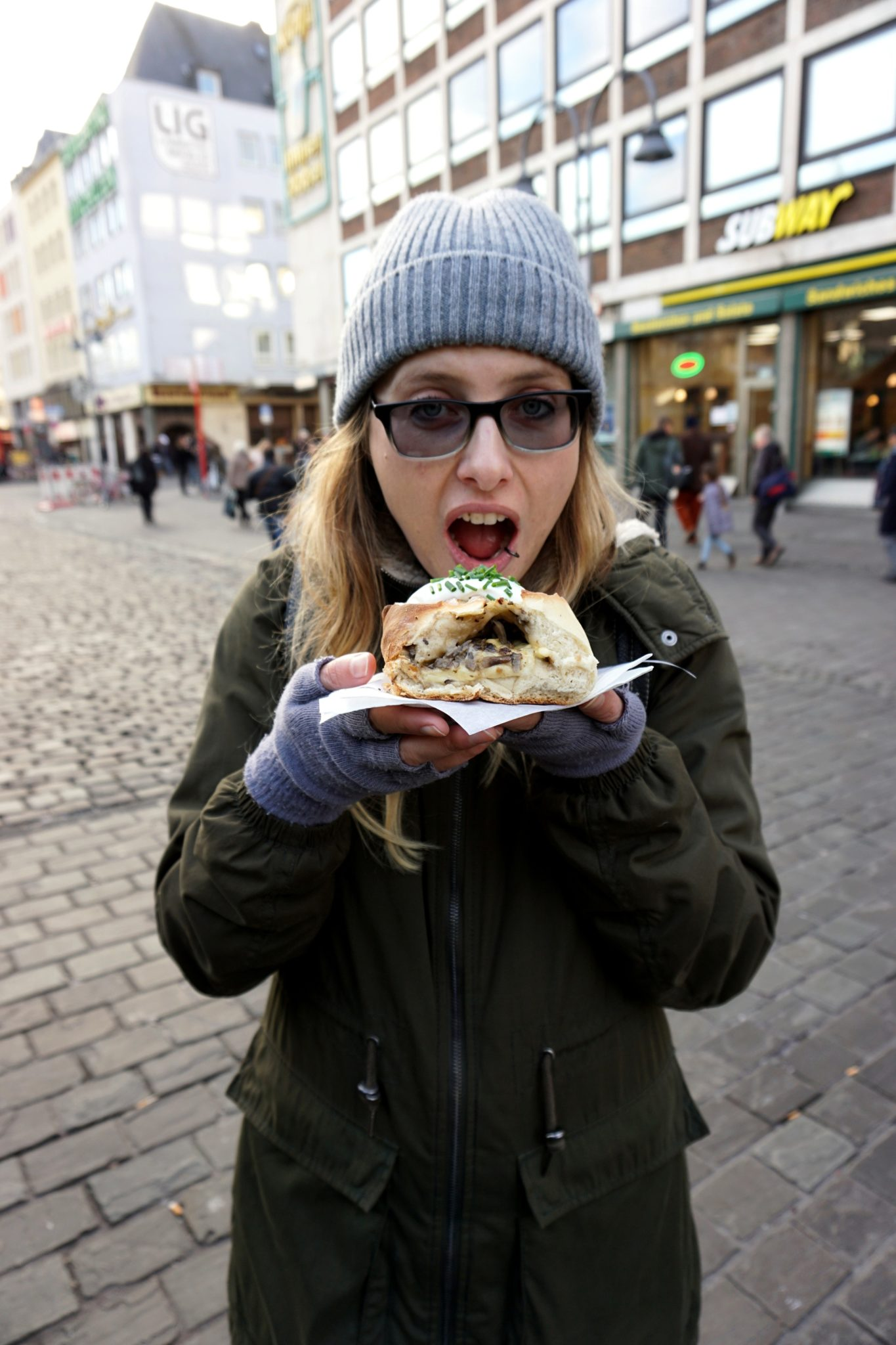 Me eating handbrot at the Cologne Christmas markets.