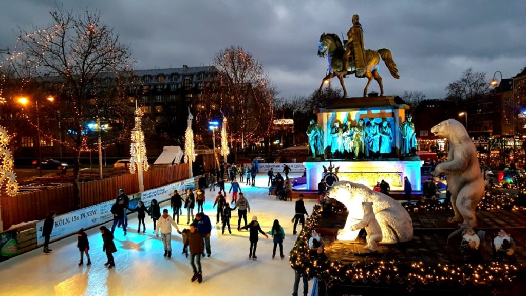The ice rink at one of the Cologne Christmas markets.