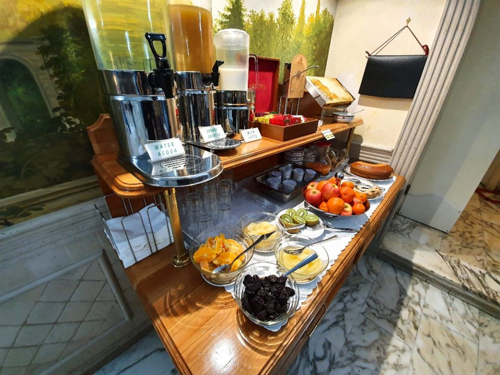 The breakfast buffet at the Hotel Pantheon.